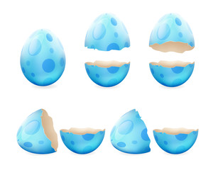 Broken eggs cracked open easter eggshell design 3d realistic icons set isolated vector illustration