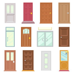 Modern Old Doors Icons Set House Flat Design Isolated Vector Illustration