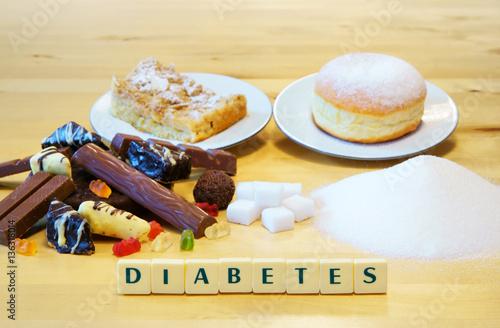 Diabetes Zucker Sussigkeiten Schrift Kuchen Textraum Copy