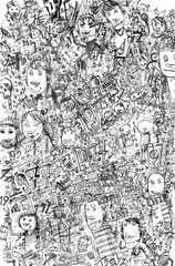 Figures and Muzzle.Hand drawn illustration