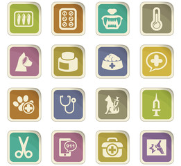 Veterinary clinic icons set