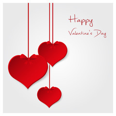 red valentine hearths from paper hanging and happy valentines day eps10