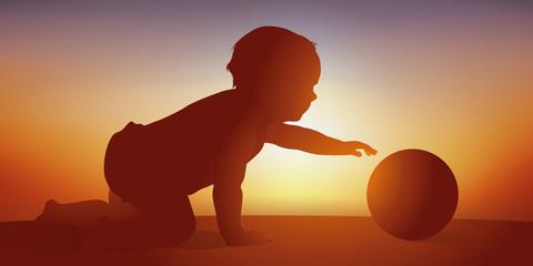 Bébé - ballon - jouer - éveil - apprentissage