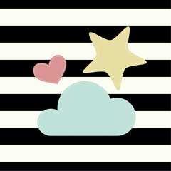 The cover design. Depicts a pink heart, a yellow star and blue cloud striped black and white background