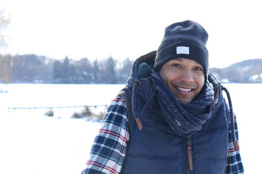 Handsome interracial man in winter