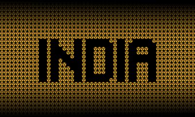 India text on radioactive warning symbols illustration