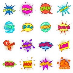 Comic sound cloud set icons set, cartoon style