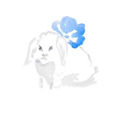 watercolor white rabbit