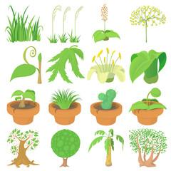 Nature green symbols icons set, cartoon style