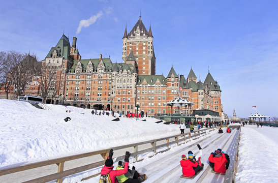 Quebec City in winter, traditional slide descent, Canada