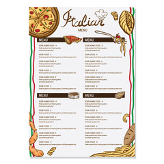 italian foods menu drawing graphic  design objects template