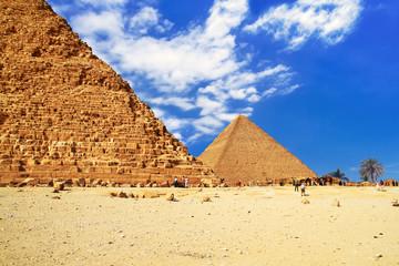 The Great Pyramid of Giza at the Pyramid of Khafre, Egypt