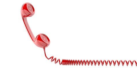Red old phone receiver on white background. 3d illustration