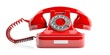 Red old telephone on white background. 3d illustration