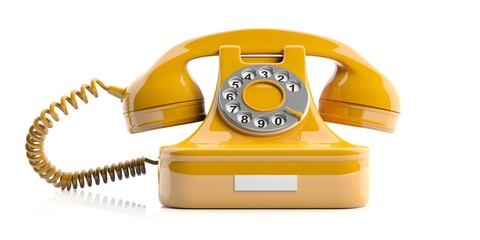 Yellow old telephone on white background. 3d illustration