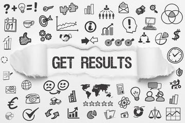 Get Results / weißes Papier mit Symbole