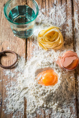 Prepartion for fresh pasta made of eggs, flour and water