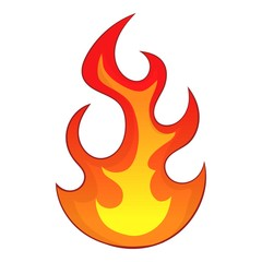 Flame icon, cartoon style