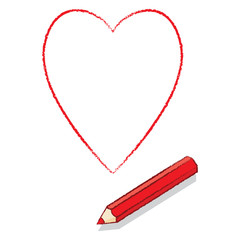 Red Pencil Drawn Outline Ace of Hearts Playing Card Icon