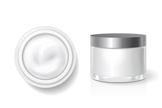 Blank packaging of cream, butter for skin care, White cosmetic jar with silver lid vector template. Top and side view