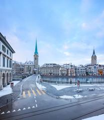 Winter landscape of Zurich with lake, Switzerland