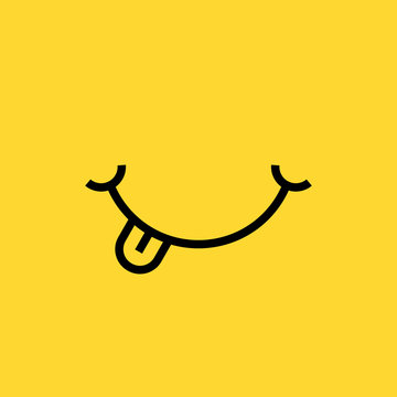 smile with tongue on yellow background