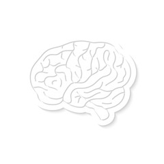 white brain icon with shadow