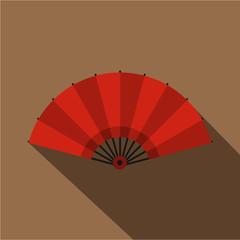 Red open hand fan icon, flat style