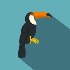 Toucan, ramphastos vitellinus icon, flat style
