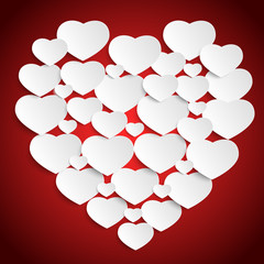 Heart from paper Valentines day card