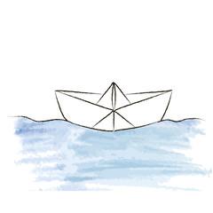 Paper ship. Sketch in vector