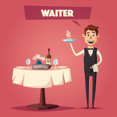 Reserved table in restaurant. Cartoon vector illustration