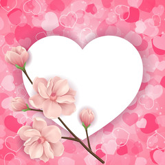 Heart Shaped Frame and Twig with Flowers