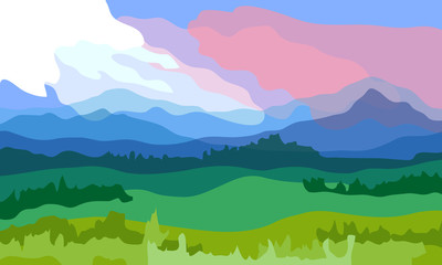 Spring landscape. Vector illustration.