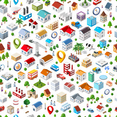 Texture of urban seamless repeating pattern of isometric city facilities such as homes, buildings, factories, plants and trees. Web elements for background and interactive applications concept