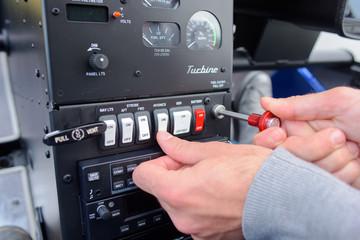 Man operating controls