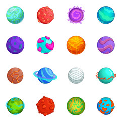 Fantastic planets icons set, cartoon style