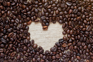 Coffee bean with blank space as heart shape background