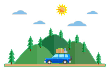 Flat style car summer trip background