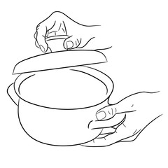 hands holding a saucepan and cover of vector illustration