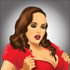 Sexy pop art woman portrait. Pin-up hand drawn vector illustration background