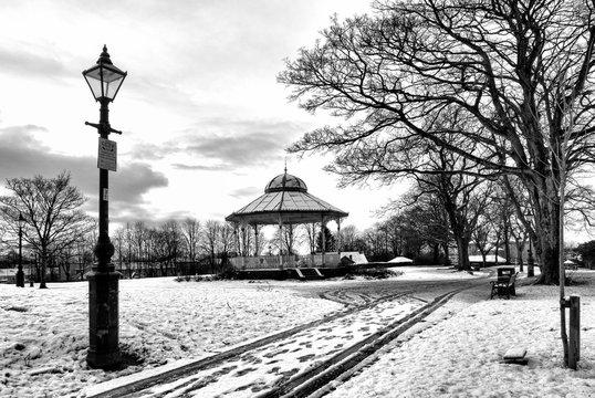 Winter snow in public park at Kirkinntilloch near Glasgow.