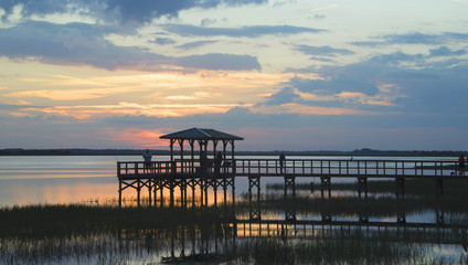 Fishing jetty on Lake Toho (Lake Tohopekaliga) Kissimmee. Florida.