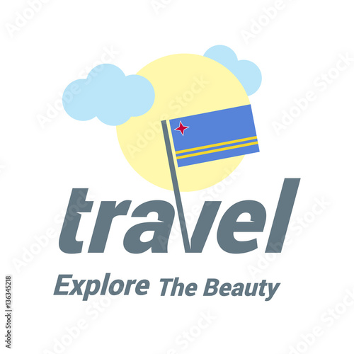 Aruba Travel Country Flag Logo  Explore the The Beauty