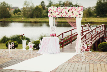 Wedding arch near the lake
