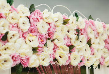 Beautiful peonies on the wedding arch