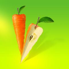 Иллюстрация гибрид моркови и яблока для этикетки фруктово-овощного сока, микса или пюре, генетически модифицированный фрукт