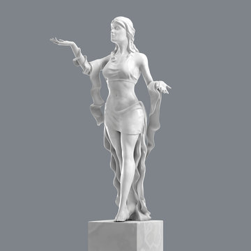 Marble Sculpture of a Beautiful Young Woman with Elegant Folds of Clothing. 3D rendering