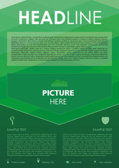 Vector flyer, corporate business, annual report, brochure design and cover presentation with green rectangle.