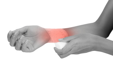 woman bandaging  and first aid her beautiful Healthy wrist in pain area black and white color with red highlighted, Isolated on white background.